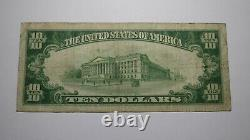 10 1929 Portsmouth Virginia Va Monnaie Nationale Banque Note Bill Ch. #11381 Fine