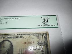 10 $ 1929 Randolph Nebraska Ne Billets De Banque De La Monnaie Nationale Bill # 7421 Vf Pcgs