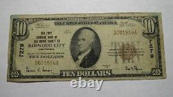$10 1929 Redwood City California Ca National Currency Bank Note Bill! #7279 Rare
