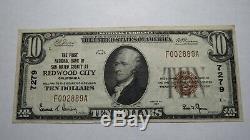 10 $ 1929 Redwood City En Californie Ca Banque Nationale Monnaie Note Bill! # 7279 Vf +