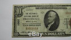 10 $ 1929 Rhode Island Providence Ri Banque Nationale Monnaie Note Bill! Ch. # 1007