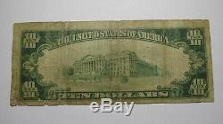 10 $ 1929 Rocky Mount Virginia Va Banque Nationale Monnaie Note Bill Ch. # 8984 Rare