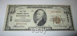 $ 10 1929 Roodhouse Illinois IL Projet De Loi Sur Les Billets De Banque Nationaux! Ch. # 8637 Vf