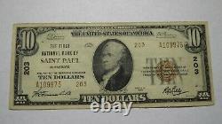 10 $ 1929 Saint Paul Minnesota Mn Monnaie Nationale Banque Note Bill Ch. #203 Vf