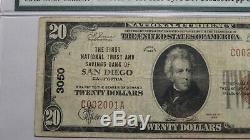 10 $ 1929 San Diego En Californie Ca Banque Nationale Monnaie Note Bill # 3050 Fin Pmg