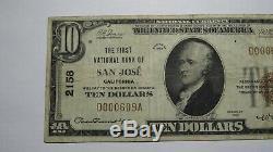 10 $ 1929 San Jose En Californie Ca Banque Nationale Monnaie Note Bill Ch. # 2158 Vf +
