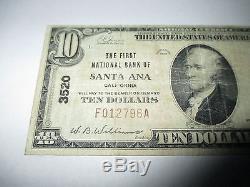 $ 10 1929 Santa Ana Californie Ca Banque Nationale De Billets De Banque Note # 3520 Fine