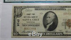 $ 10 1929 Santa Cruz Californie Ca Banque Nationale Monnaie Note Bill # 9745 Vf25