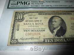 $ 10 1929 Santa Rosa Nouveau-mexique Nm Banque Nationale De Billets De Banque Bill Ch # 6081 Pmg