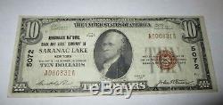 $ 10 1929 Saranac Lake New York Ny Billet De Banque National Bill Ch. # 5072 Vf