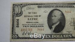10 $ 1929 Sayre Pennsylvania Pa Banque Nationale Monnaie Note Bill! Ch. # 5666 Vf