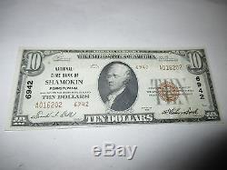 10 $ 1929 Shamokin Pennsylvanie Pennsylvanie Banque Nationale De Billets De Banque Bill! Ch # 6942 Xf +