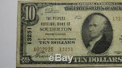 10 $ 1929 Souderton Pennsylvania Pa Banque Nationale Monnaie Note Bill! # 13251 Fin