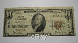 $ 10 1929 St. Ignace Michigan MI Monnaie Banque Nationale Note Bill Ch. # 3886 Saint