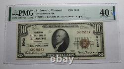 10 $ 1929 St. Joseph Missouri Mo Monnaie Nationale Bill #9042 Xf40 Pmg