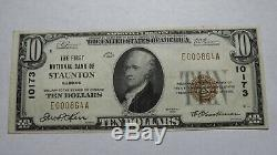 10 $ 1929 Staunton Illinois IL Banque Nationale Monnaie Note Bill Ch. # 10173 Xf