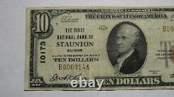 $10 1929 Staunton Illinois IL National Currency Bank Note Bill Ch. #10173 Vf