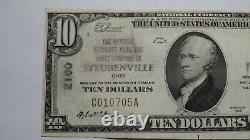 10 $ 1929 Steubenville Ohio Oh National Currency Bank Note Bill Ch. #2160 Rare