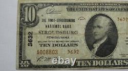 $10 1929 Stroudsburg Pennsylvania Pa National Currency Bank Note Bill #3632 Fine