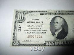 10 $ 1929 Sunbury Pennsylvanie Pa Banque De Billets De Banque Nationale Note Bill Ch # 1237 Vf