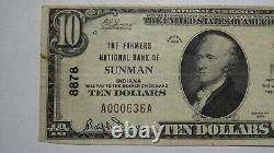 $10 1929 Sunman Indiana In National Currency Bank Note Bill Ch. #8878 Fine