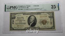 10 1929 Texarkana Texas Tx Monnaie Nationale Banque Note Bill Ch. #3785 Vf25 Pmg