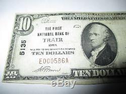 10 $ 1929 Traer Iowa Ia Note De La Banque Monétaire Nationale Bill! Ch. # 5135 Fine