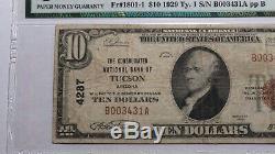 10 $ 1929 Tucson Arizona Az Banque Nationale Monnaie Note Bill Ch. # 4287 Pmg Vf25