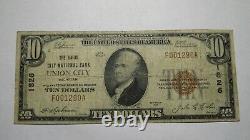 $10 1929 Union City Michigan MI Monnaie Nationale Banque Note Bill! Ch. #1826 Fine