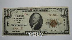 10 $ 1929 Urbana Ohio Oh Banque Nationale Monnaie Note Bill! Ch. # 916 Très Fine