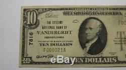 10 $ 1929 Vandergrift Pennsylvania Pa Banque Nationale Monnaie Note Bill # 7816 Vf