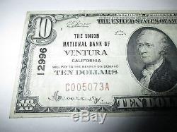 10 $ 1929 Ventura California Ca Note De La Banque Monétaire Nationale Bill! Ch. # 12996 Vf