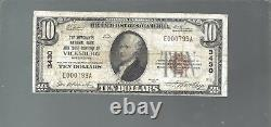 10 $ 1929 Vicksburg Mississippi Ms National Currency Bank Note Ch. #3430 Nt0034
