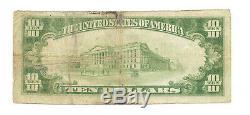 10 $. 1929 Ville Forestier, Banque Nationale Monnaie Iowa Remarque Bill Ch. # 5011