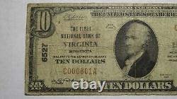 $10 1929 Virginia Minnesota Mn National Currency Bank Note Bill! Ch. #6527 Rare