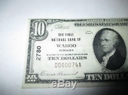 10 $ 1929 Wahoo Nebraska Ne Banque De Monnaie Nationale Note Bill Ch. # 2780 Xf