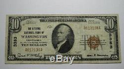 10 $ 1929 Washington Pennsylvania Pa Banque Nationale Monnaie Note Bill Ch # 3383