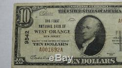 10 $ 1929 West Orange New Jersey Nj Banque Nationale Monnaie Note Bill! Ch. # 9542