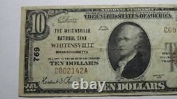 $10 1929 Whitinsville Massachusetts Ma National Currency Bank Note Bill #769 Vf