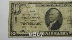 10 $ 1929 Williamson Wv Virginie-occidentale Banque Nationale Monnaie Note Bill! Ch. # 6830