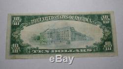 10 $ 1929 Wilmington Delaware De Banque Nationale Monnaie Note Bill Ch. # 3395 Vf