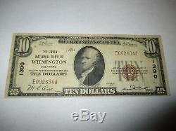 10 $ 1929 Wilmington Delaware De Billet De Banque En Monnaie Nationale Bill Ch. # 1390 Amende