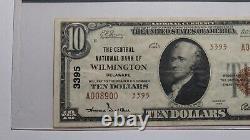10 $ 1929 Wilmington Delaware De National Currency Bank Note Bill #3395 Vf30 Pcgs