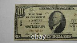 10 1929 Yonkers New York Ny Monnaie Nationale Banque Note Bill Ch. #653 Fine