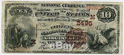 10 $ National Citizens Citoyens Banque Nationale De Cincinnati Ohio Brown Back, Xf