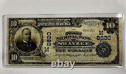 10 $ Première Banque Nationale De Swayzee Indiana Chapitre 8820 Devise Rare 1902 626
