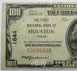 100 $ 1929 Houston Texas Type 1 Ch1644 Première Banque De Monnaie Nationale Note # 18346f