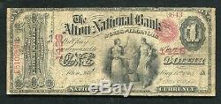 1865 $ 1 As The Alton Banque Nationale De L'illinois Monnaie Nationale Ch. # 1428
