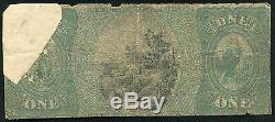 1875 $ 1 La Banque Nationale Taunton Taunton, Ma Monnaie Nationale Ch # 957 Rare