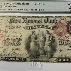 1875 Michigan $1 National Currency First National Bank Bay City Michigan Pmg